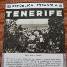 Folletos de turismo: TENERIFE. REPUBLICA ESPAÑOLA.. Lote 23712225