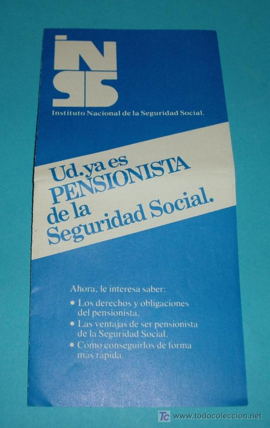 Folletos de turismo: FOLLETO EXPLICATIVO SOBRE LAS PENSIONES. INSTITUTO NACIONAL DE LA SEGURIDAD SOCIAL - Foto 1 - 19986234