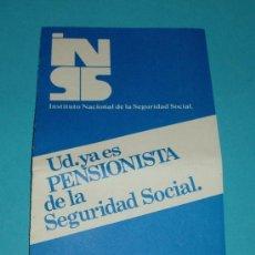 Folletos de turismo: FOLLETO EXPLICATIVO SOBRE LAS PENSIONES. INSTITUTO NACIONAL DE LA SEGURIDAD SOCIAL. Lote 19986234