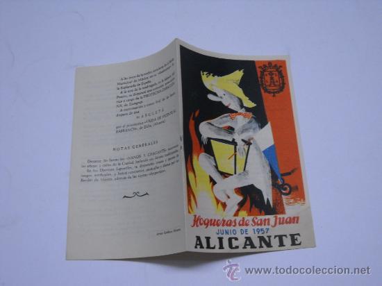 HOGUERAS DE SAN JUAN, ALICANTE 1957. PROGRAMA OFICIAL DE FIESTAS. 11X16 6 PÁGINAS (Coleccionismo - Folletos de Turismo)
