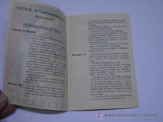 Folletos de turismo: HOGUERAS DE SAN JUAN, ALICANTE 1957. PROGRAMA OFICIAL DE FIESTAS. 11X16 6 PÁGINAS - Foto 2 - 27401423