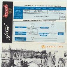 Folletos de turismo: DÍPTICO DE LA FERIA DE ABRIL DE 1997. TUSSAM. PLANO DE LA FERIA. Lote 20712640