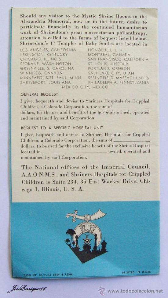 Folletos de turismo: THE MYSTIC SHRINE ROOMS - WASHINGTON MASONIC NATIONAL. 1956, PRINTED IN USA. FOLLETO, BROCHURE - Foto 2 - 26915486