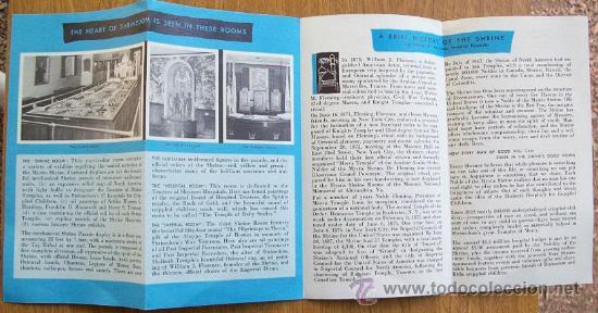 Folletos de turismo: THE MYSTIC SHRINE ROOMS - WASHINGTON MASONIC NATIONAL. 1956, PRINTED IN USA. FOLLETO, BROCHURE - Foto 3 - 26915486