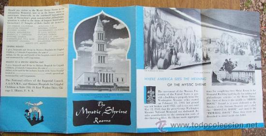 Folletos de turismo: THE MYSTIC SHRINE ROOMS - WASHINGTON MASONIC NATIONAL. 1956, PRINTED IN USA. FOLLETO, BROCHURE - Foto 4 - 26915486