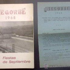 Folletos de turismo: SEGORBE, CASTELLÓN. FIESTAS DE SEPTIEMBRE 1968. TIP. M. TENAS, SEGORBE.. Lote 23036611