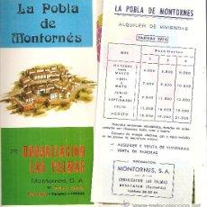 Folletos de turismo: LA POBLA DE MONTORNÉS (CASTELLÓN). 1974. Lote 23759261