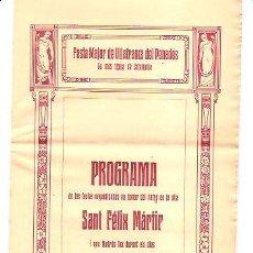 Folletos de turismo: PROGRAMA FESTA MAJOR DE VILAFRANCA DEL PENEDÈS – AÑO 1913. Lote 286611393