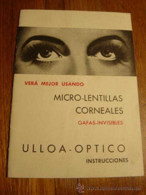 Folletos de turismo: FOLLETO INSTRUCCIONES MICRO-LENTILLAS CORNEALES , DE ULLOA-OPTICO - Foto 1 - 26771380