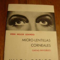 Folletos de turismo: FOLLETO INSTRUCCIONES MICRO-LENTILLAS CORNEALES , DE ULLOA-OPTICO. Lote 26771380