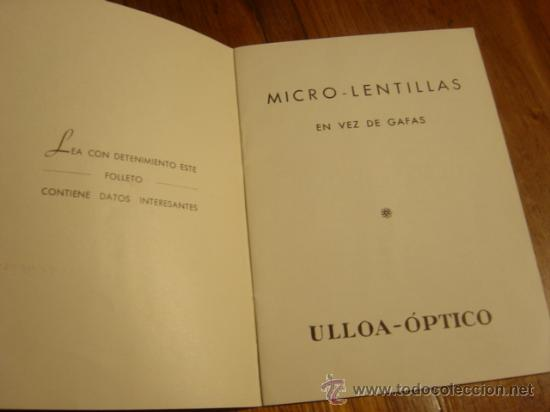 Folletos de turismo: FOLLETO INSTRUCCIONES MICRO-LENTILLAS CORNEALES , DE ULLOA-OPTICO - Foto 2 - 26771380