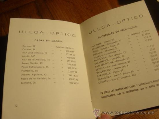 Folletos de turismo: FOLLETO INSTRUCCIONES MICRO-LENTILLAS CORNEALES , DE ULLOA-OPTICO - Foto 5 - 26771380