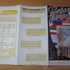 Folletos de turismo: MALLORCA BALEARES -FOLLETO PERLAS MANACOR SA - APROX 1960. Lote 23906227