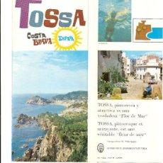 Folletos de turismo: FOLLETO TURISTICO DE TOSSA. Lote 23985254
