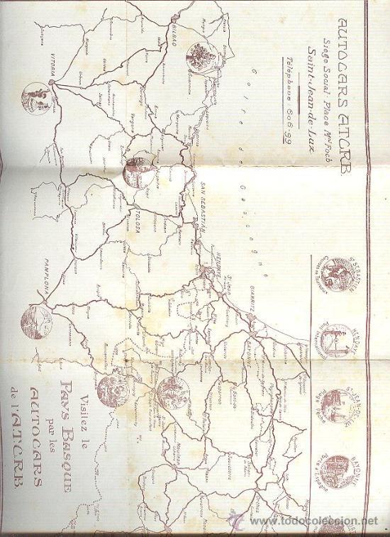 Mapa Pais Vasco Frances.Autocars A T C R B San Juan De Luz Mapa Pais V Sold