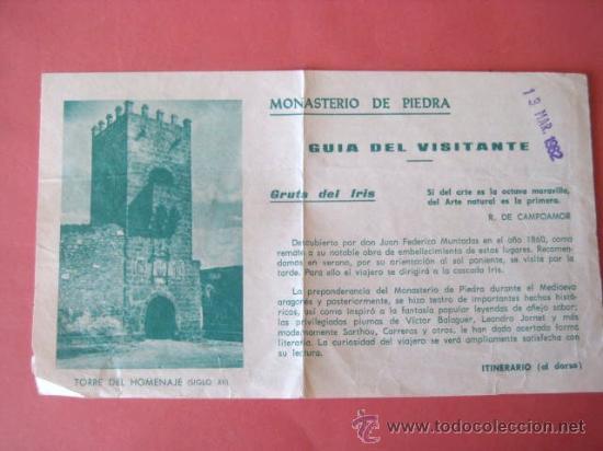 MONASTERIO DE PIEDRA. GUIA DEL VISITANTE. 1982. ENVIO GRATIS¡¡¡ (Coleccionismo - Folletos de Turismo)