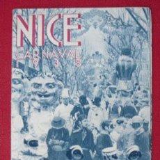 Folletos de turismo: NICE. CARNAVAL 1935. PROGRAMME DES FÊTES. (CON FOTOGRAFÍAS). Lote 28020823