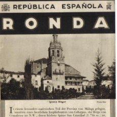 Folletos de turismo: PATRONATO NACIONAL DE TURISMO : REPUBLICA ESPAÑOLA . RONDA, CON PLANO EN TRASERA Y FOTOS . Lote 28277901