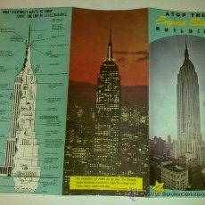 Folletos de turismo: FOLLETO DESPLEGABLE DEL EMPIRE STATE BUILDING AÑOS 60. MAPA NEW YORK. Lote 28325386