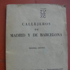 Folletos de turismo: CALLEJERO DE MADRID Y BARCELONA. 1959. Lote 28393069