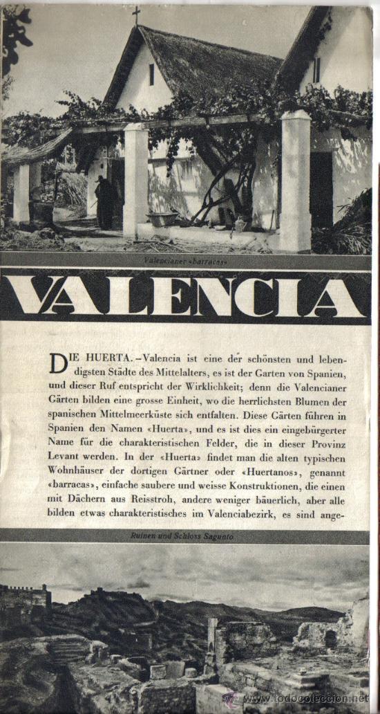 REPUBLICA ESPAÑOLA, TRIPTICO PATRONATO DE TURISMO, VALENCIA, AÑOS 30, FOTOS. (Coleccionismo - Folletos de Turismo)