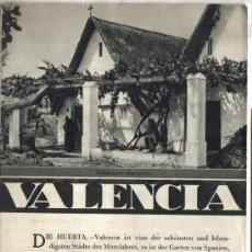 Folletos de turismo: REPUBLICA ESPAÑOLA, TRIPTICO PATRONATO DE TURISMO, VALENCIA, AÑOS 30, FOTOS.. Lote 28480289