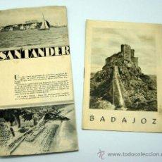 Folletos de turismo: 2 FOLLETOS PATRONATO NACIONAL TURISMO BADAJOZ Y SANTANDER AÑOS 40. Lote 28937432