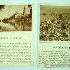 Folletos de turismo: 2 FOLLETOS PATRONATO NACIONAL TURISMO ZARAGOZA Y ALICANTE AÑOS 40. Lote 28937530