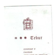 Folletos de turismo: TARJETA HOTEL RESIDENCIA TEBAR - VIVERO. Lote 29309922