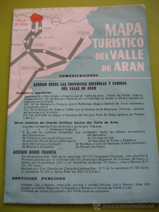 Turistico Valle De Aran Mapa.Valle De Aran Mapa Turistico 1962