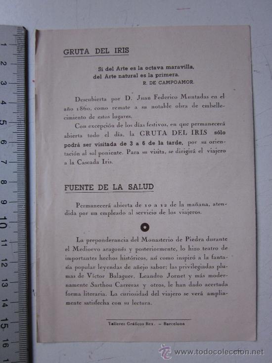 Folletos de turismo: MONASTERIO DE PIEDRA, ZARAGOZA - GUIA DEL VISITANTE - AÑO 1944 - Foto 2 - 29808029