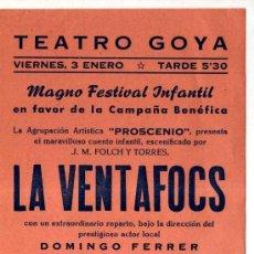 Folletos de turismo: FOLLETO TEATRO GOYA. MANRESA. LA VENTAFOCS. . Lote 30876836
