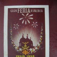 Folletos de turismo: PROGRAMA OFICIAL - VALENCIA - GRAN FERIA DE JULIO - AÑO 1950. Lote 34118554