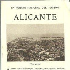Folletos de turismo: ALICANTE FOLLETO DEL PATRONATO NACIONAL DE TURISMO AÑOS 20. Lote 32015851