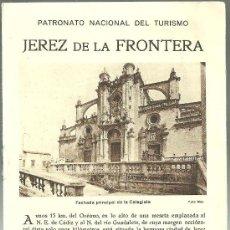 Folletos de turismo: JEREZ DE LA FRONTERA CADIZ FOLLETO DEL PATRONATO NACIONAL DE TURISMO AÑOS 20. Lote 295489918