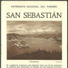 Folletos de turismo: SAN SEBASTIAN FOLLETO DEL PATRONATO NACIONAL DE TURISMO AÑOS 20. Lote 195209057