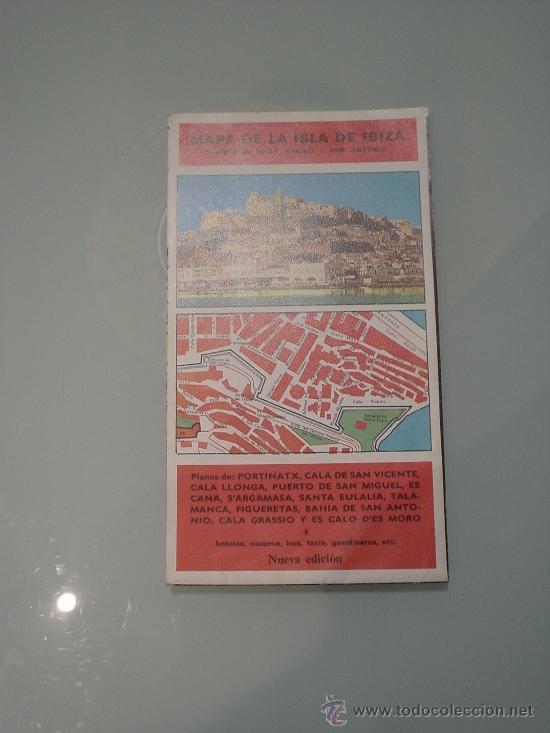 MAPA DE LA ISLA DE IBIZA. AÑOS 80. FOLLETO TURISMO. ISLAS BALEARES (Coleccionismo - Folletos de Turismo)
