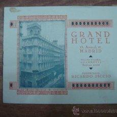 Folletos de turismo: FOLLETO INFORMATIVO.-GRAND HOTEL,MADRID.-PROPIETARIO RICARDO PICCIO.-10 PAG.-14X11CTMS.-. Lote 33070978
