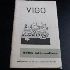 Folletos de turismo: VIGO - CATÁLOGO DE LA SUBSECRETARÍA DE TURISMO - 1964. Lote 33374851