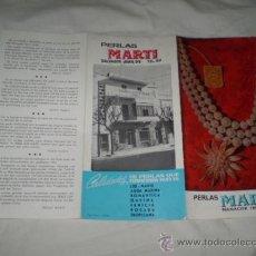Folletos de turismo: ANTIGUO FOLLETO PUBLICITARIO PERLAS MARTI,MANACOR,MALLORCA AÑOS 70?. Lote 34267891