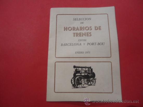 HORARIOS DE TRENES ENTRE BARCELONA Y PORT-BOU 1971 TREN FERROCARIL (Coleccionismo - Folletos de Turismo)