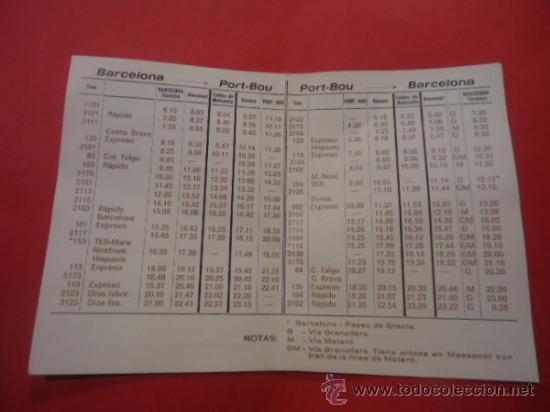 Folletos de turismo: HORARIOS DE TRENES ENTRE BARCELONA Y PORT-BOU 1971 TREN FERROCARIL - Foto 2 - 34641445