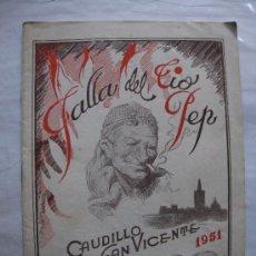 Folletos de turismo: VALENCIA LLIBRET FALLA DEL TIO PEP(CAUDILLO SAN VICENTE) AÑO 1951. Lote 34923066