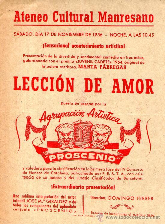 FOLLETO INFORMATIVO ATENECO CULTURAL MANRESANO TEATRO LECCION DE AMOR MANRESA 1956 (Coleccionismo - Folletos de Turismo)