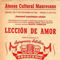 Folletos de turismo: FOLLETO INFORMATIVO ATENECO CULTURAL MANRESANO TEATRO LECCION DE AMOR MANRESA 1956. Lote 35571237