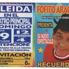 Folletos de turismo: FOLLETO PROGRAMA INVITACION FOFITO ARAGON CIRCO. Lote 35639112