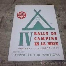 Folletos de turismo: 1786.- CAMPING CLUB BARCELONA-RALLY DE CAMPING EN LA NIEVE. Lote 36266886