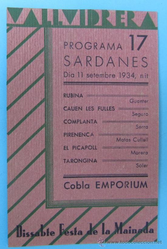 VALLVIDRERA PROGRAMA 17 SARDANES. COBLA EMPORIUM. DIA 11 SETEMBRE 1934. (Coleccionismo - Folletos de Turismo)