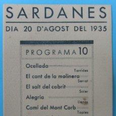 Folletos de turismo: VALLVIDRERA PROGRAMA 10 SARDANES. COBLA EMPORIUM. DIA 20 D'AGOST 1934.. Lote 38777136