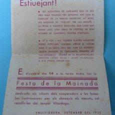 Folletos de turismo: VALLVIDRERA. HOJA VOLANTE. SARDANES, BANDA MUNICIPAL, TITELLES. SETEMBRE DEL 1935.. Lote 38777192